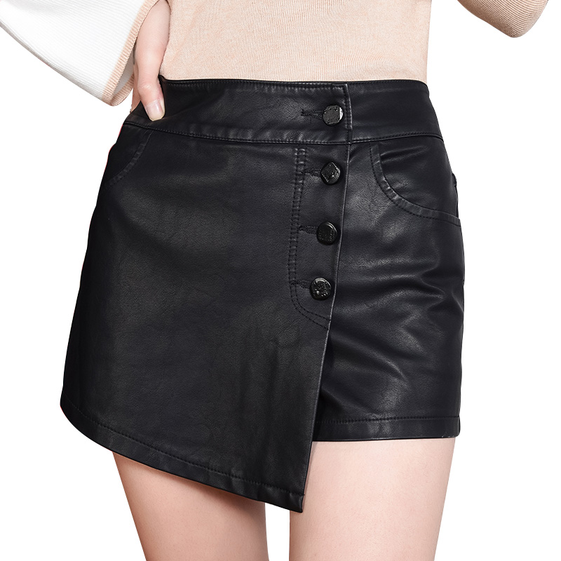 Fake Two Piece Skirts Shorts Women Black PU Leather Shorts Girls High Waist Single Breasted Short Trouser Sexy Clothing 2020 New 1