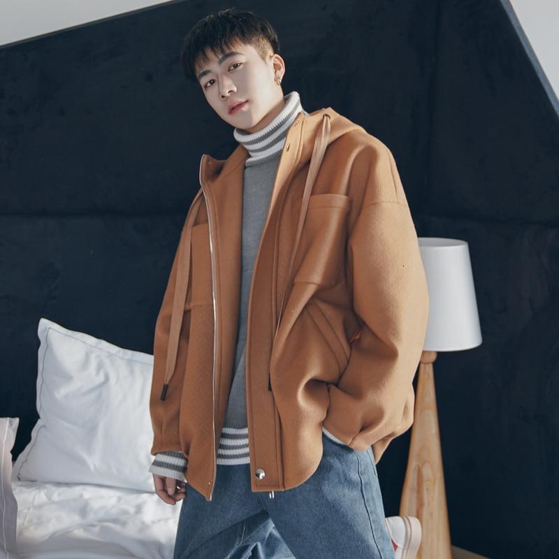 Winter Woolen Coat Men Fashion Solid Color Casual Hooded Woolen Jacket Mens Streetwear Loose Overcoat Coat Male Clothes