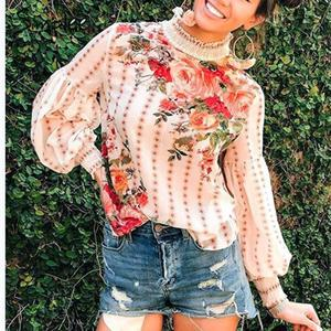 Image 3 - Simplee אתני סגנון פרחוני הדפסת נשים חולצה קפלים צב צוואר לנטרן שרוול שיפון חולצה אלגנטית שיק גבירותיי חולצות חולצות