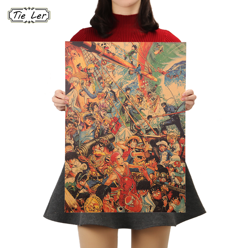 TIE LER Decorative Poster Vintage Anime Characters Posters Living Room Decorative Painting Cafe Kraft Paper Sticker 51x35.5cm
