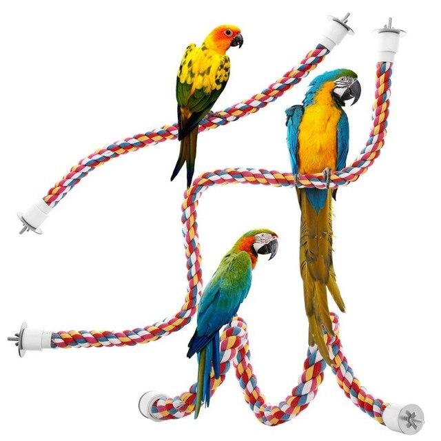 Perroquet oiseau de compagnie interactif   Corde colorée, Perches Cage, accessoires confortable perroquet, jouets pour coton, produit de jouet doiseau à élastique