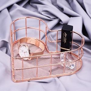Image 4 - Nordic Rose Gold Metal Wire Storage Basket Office Desktop Sundries Makeup Brushes Holder Table Cosmetics Organizer Iron Basket