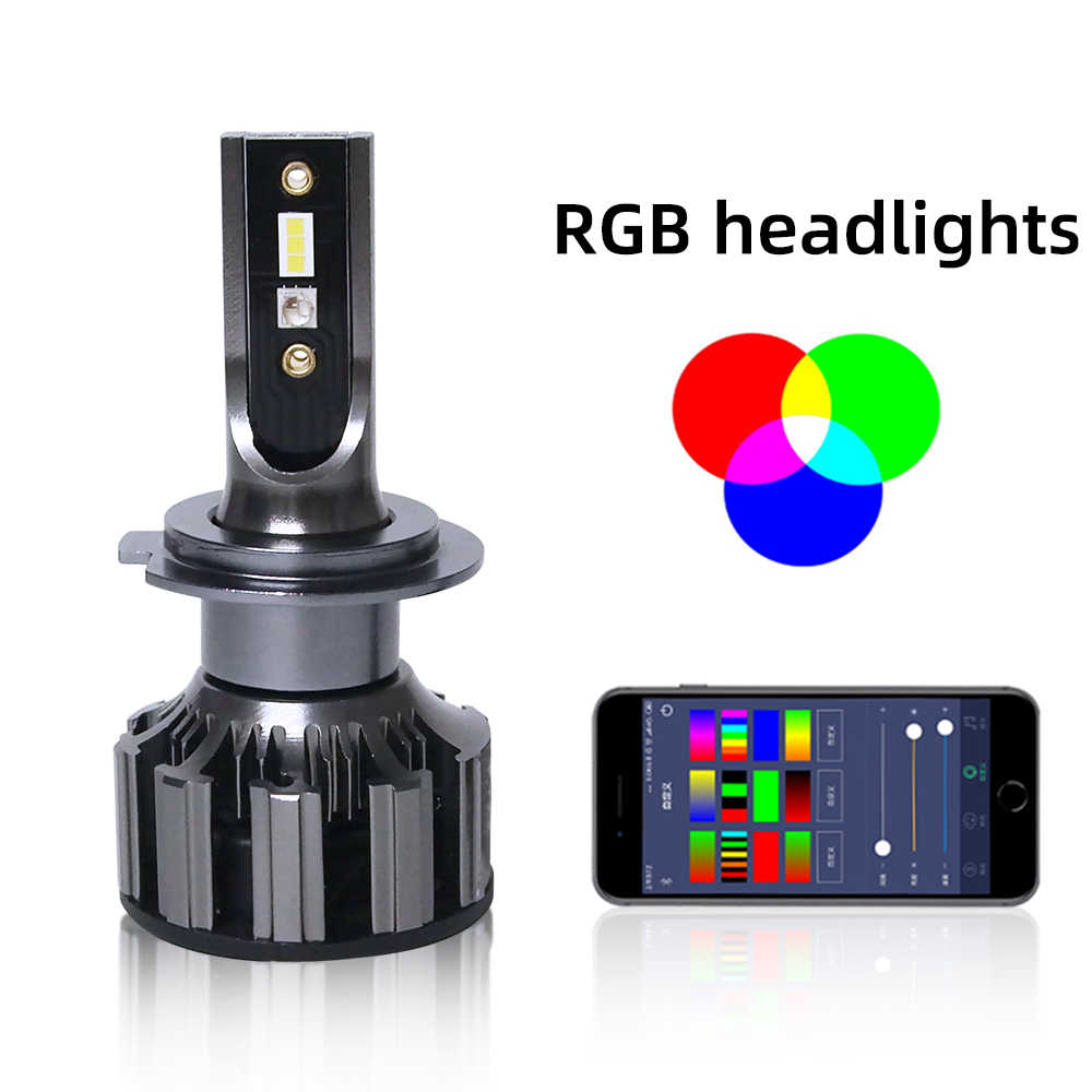 Lampe frontale RGB 9005 9006 6000K |, application Bluetooth, lampe frontale de voiture, H3, H1 H11 H8 D2S, 12v 24v,