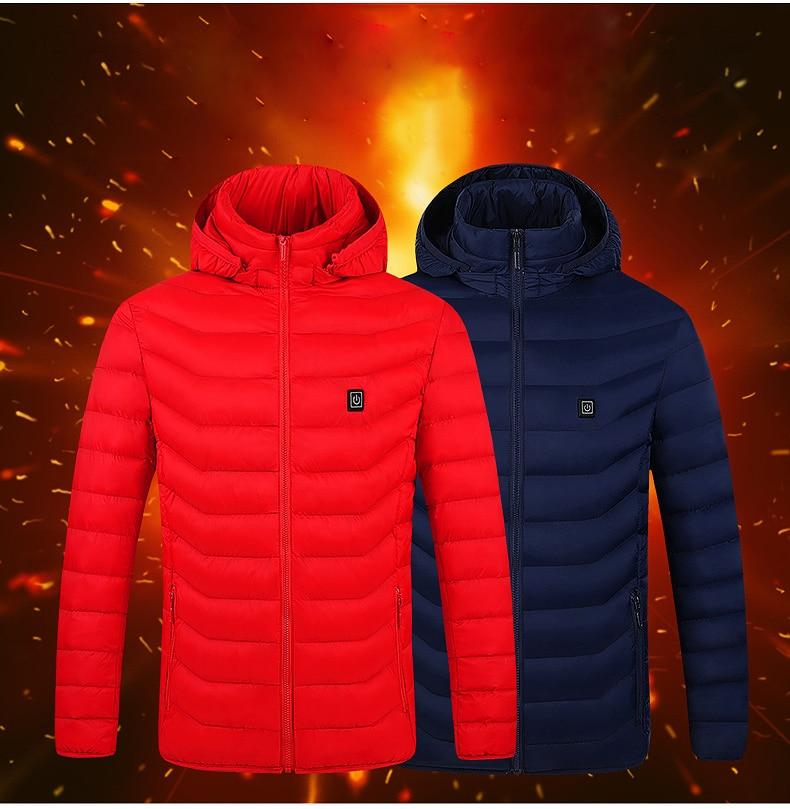 Куртки с электрическим подогревом, жилет, USB, электрическое отопление, с капюшоном, хлопковое пальто для кемпинга, туризма, охоты, теплая зим...