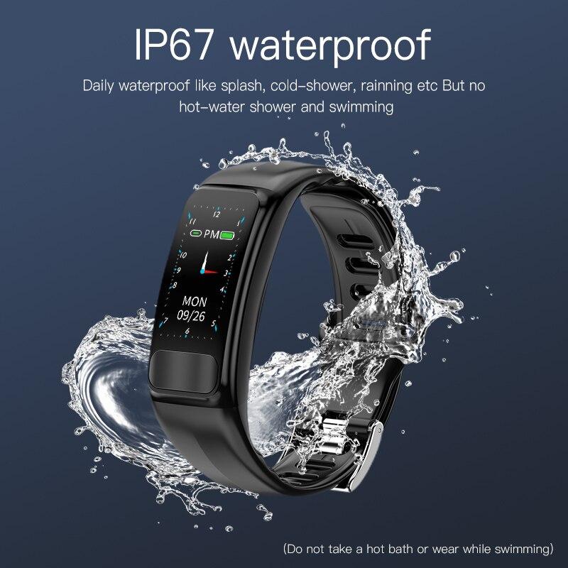 Monitor de Pressão Arterial e Freqüência Rastreador de Fitness Ip67 à Prova Pulseira Inteligente Cardíaca Smartband Esportes Dip67 Água Ecg Ppg