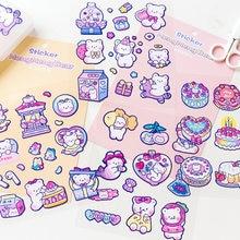 Yisuremia-pegatinas de oso Meng Kawaii para diario, etiquetas decorativas, papelería escolar