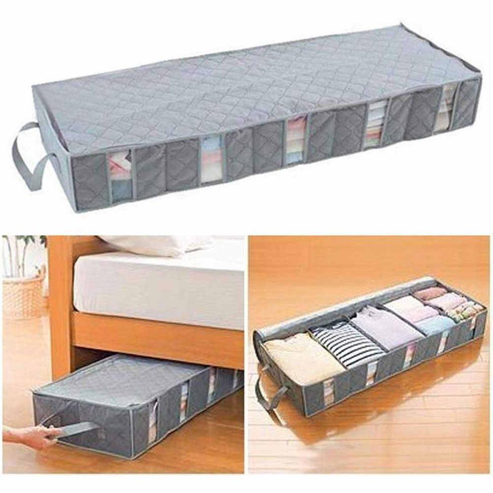 Taşınabilir giysi organizatör altında yatak raf dokunmamış kumaş katlama dolap ev dolabı kapaklı çorap sutyen giysi saklama kutusu