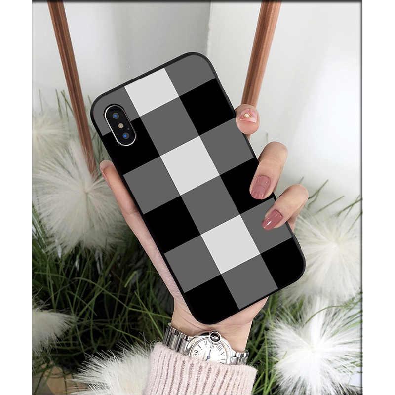 NBDRUICAI Đen Trắng Bàn Cờ TPU Mềm Dẻo Silicone Ốp Lưng Điện Thoại Cho iPhone 11 Pro XS MAX 8 7 6 6S 6S Plus X 5 5S SE