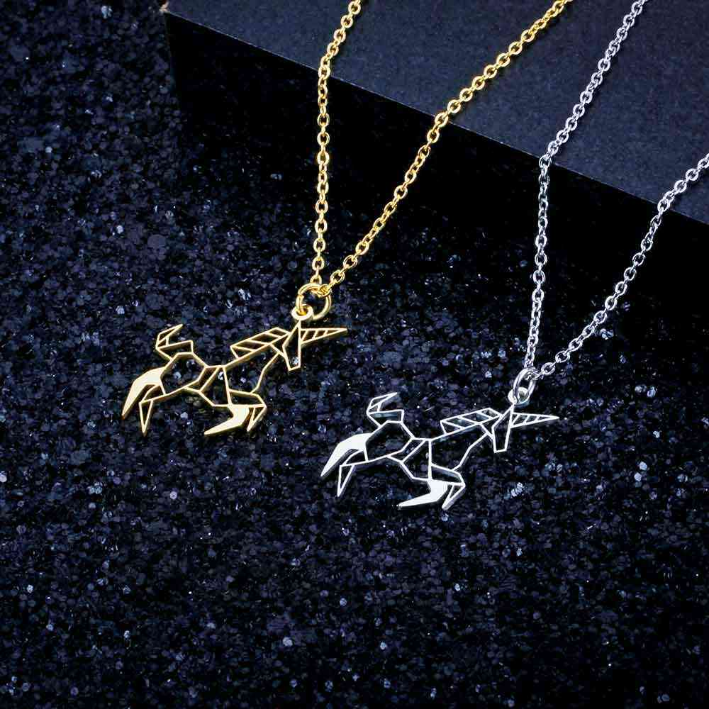 100% Real Stainless Steel Unicorn Necklace Special Gift Italy Design Trend Jewelry Necklaces Unique Animal Jewelry Necklace