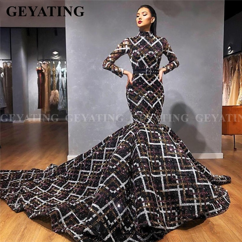 Luxury Black Sequins Arabic Muslim Evening Dress Long Sleeve High Neck African Prom Dresses Long Train Dubai Formal Party Gowns