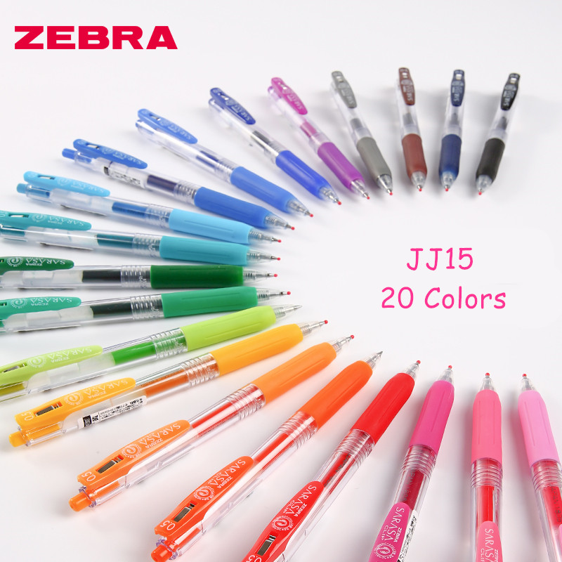 1pc Japan Zebra SARASA CLIP Series Colorful  Push Clip Gel Ink Pen JJ15 0.5mm 20 Colors Available School Office Supplies