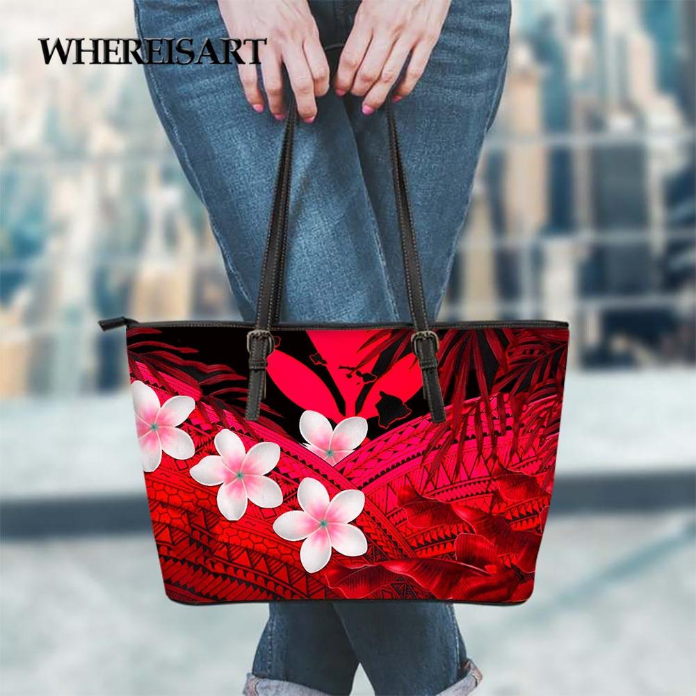 WHEREISART Hawaii Kanaka Maoli Polynesia Female Big Bags for Women Flower Print Trendy Luxury Shoulder BagsTop-handle