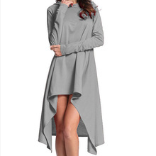 2020 wish hot sales asymmetric loose woman dress hooded female new fashion solid autumn Sport dress Europe style lady