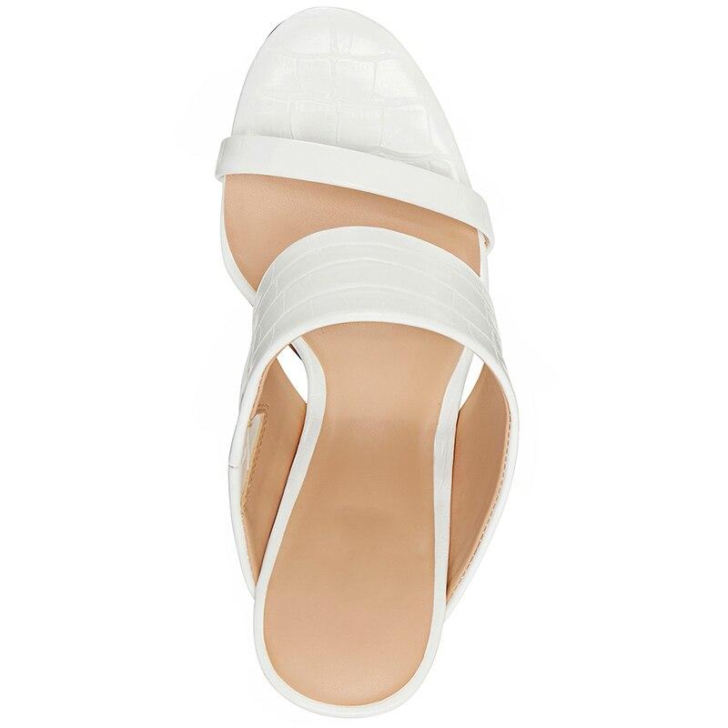 Croc blanc en relief talons hauts cône sandales femme bout ouvert sangle grande taille 12 15 dames été chaussures de loisir à la mode Shofoo - 5