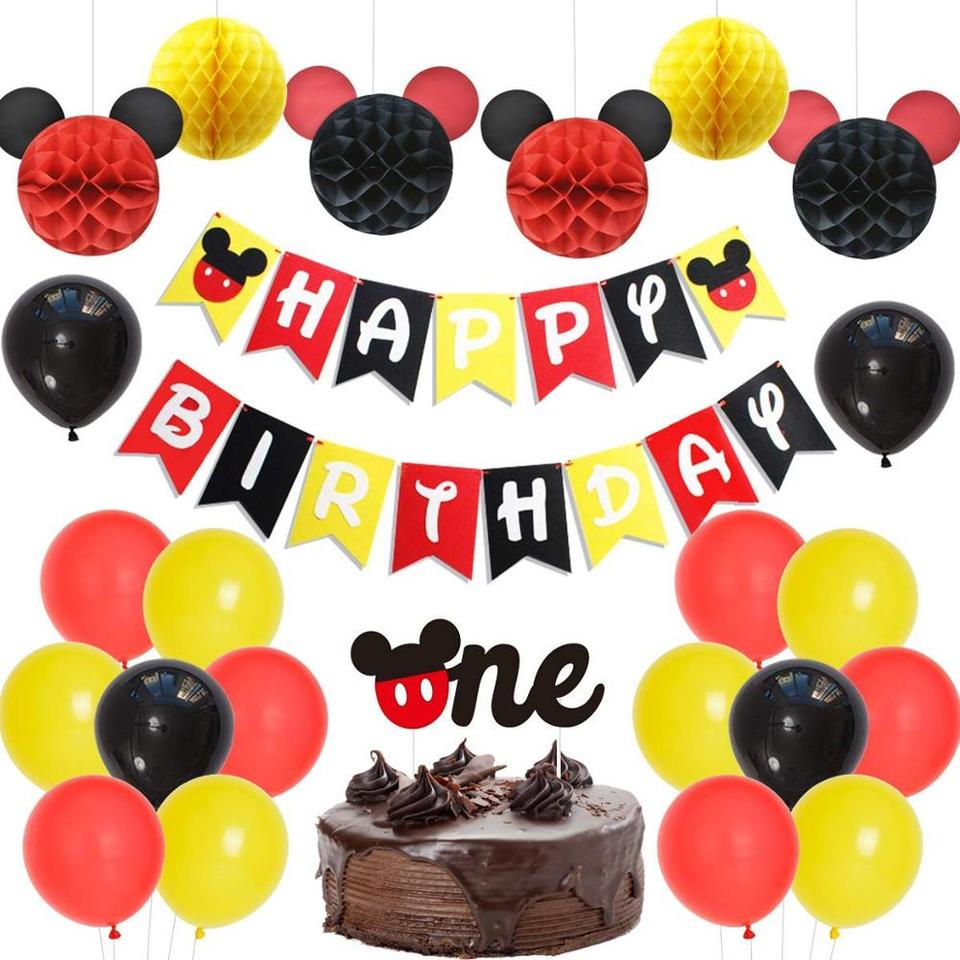 Fine Mickey Mouse Theme 1St Birthday Decorations Supplies Boys Girls Personalised Birthday Cards Veneteletsinfo