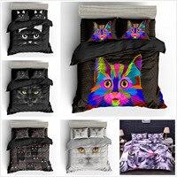 Cute 3D Cat Print Bedding Set Cartoon Pillowcase King Duvet Cover Set Kids Bedding Set Single/Twin/Full/Double/Queen/King Size