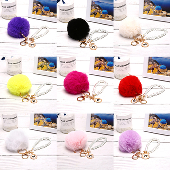 Pompon Keychain Simple key chain Fur ball Pompom Artificial Rabbit Fur Animal Keychains For Woman Car Bag KeyRing 9 colors image