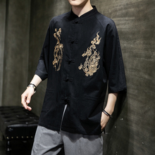 2021 Summer Chinese Style Black Mens Cotton Linen Shirts Dragon Embroidery Tang Hanfu Buckle Clothes In Oriental Style Oversize