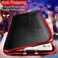 Confidentialité Anti-espion métal magnétique coque de téléphone en verre trempé pour Samsung Galaxy S8 S9 S10 Plus Note 8 9 aimant 360 housse de protection