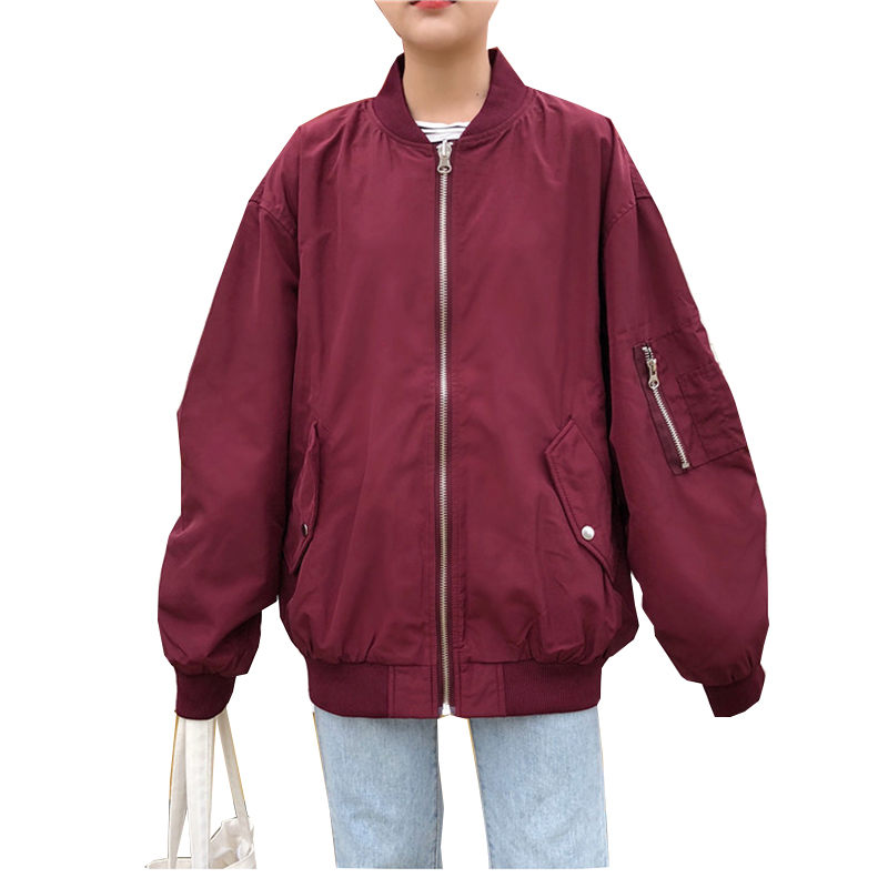 Women Bomber Jacket Boyfriend Oversize Long Sleeve Basic Coat Female Zipper Spring Armygreen Black Baggy Baseball Uniform Jacket