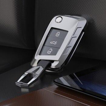 Klucz samochodowy ze stopu cynku zdalne etui osłona z uchwytem Case dla volkswagena VW Golf 7 mk7 seat ibiza Leon FR 2 Altea Aztec dla Skoda Octavia