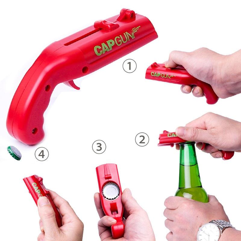 Bottle Opener  Home Tools 1PCS Cap Gun Funny Beer Cool Bar Cap Shoot Kitchen Bottle Cap 5Gadgets Game Meter Launcher Party