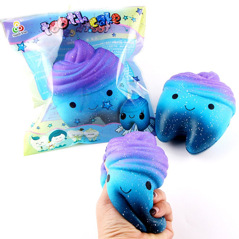 Simulated Cartoon Starry Teeth Doll Slow Rebound Decompression Toy Foam Decoration Foam Relaxed Toy Cake Sample Model