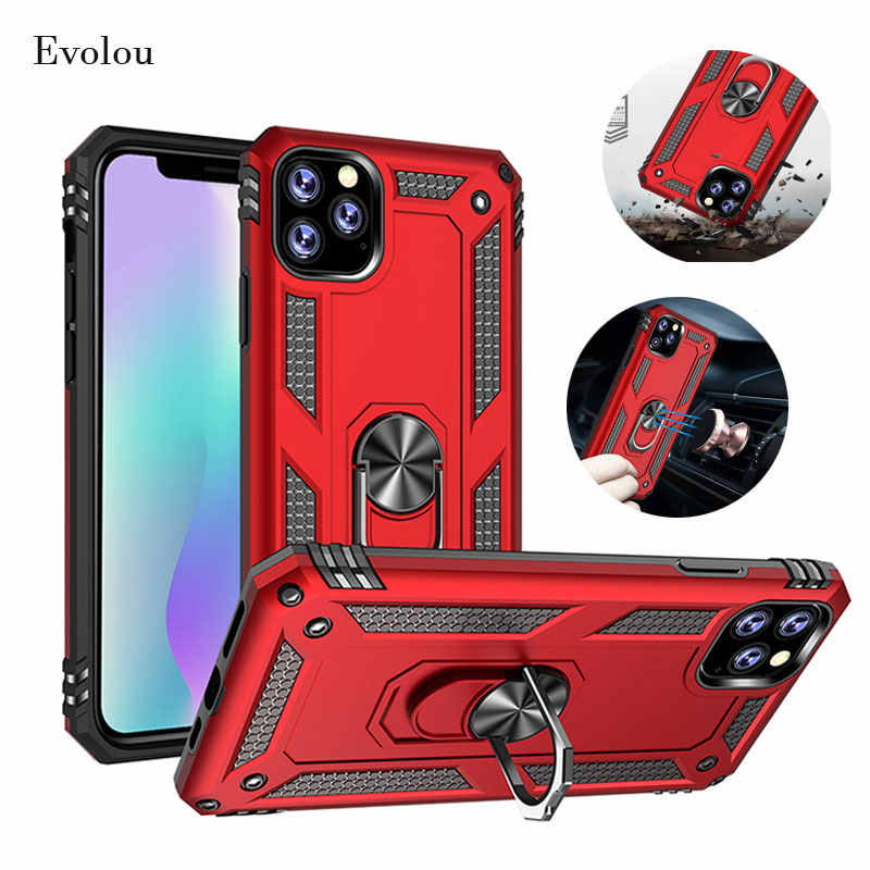 Case for Iphone 11 Pro Max Magnetic Suction Car Cover Holder Armor Case for Iphone 11 Pro Bumper Shockproof with Ring Holder
