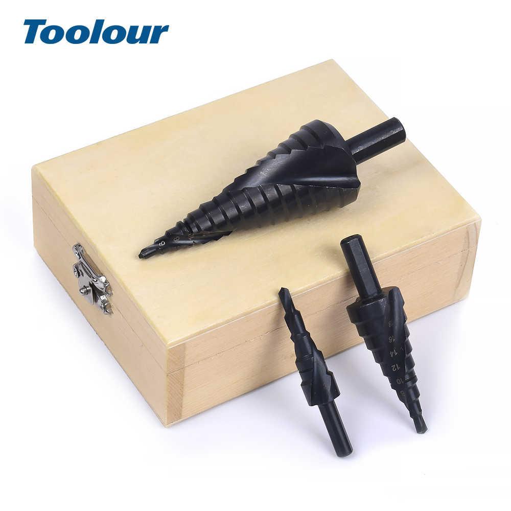 Toolour במהירות גבוהה פלדה 4-32MM פגודה מקדח רב-פונקציה מחודד מתכת חור פותחן עם קובלט שלב ספירלת תרגיל מקדד