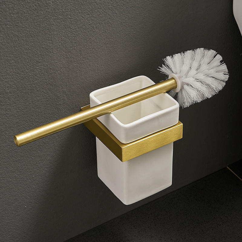 Toilet Brush Holder Set Aluminum Brushed Gold Toilet Brush Rack Bathroom Cleaning Tools Wall Mounted Nail Punched Free Shipping