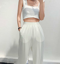 2020 new summer fashion tide brand street style sleeveless vest belly button sling high waist mopping wide leg pants suit women(China)