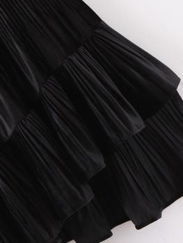 Chic Women Pleated Skirt Spring 2020 New Fashion Cascading Ruffles Black Bottom Modern Lady Mid-Calf Skirts 4