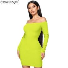 Sexy Solid Color dress 2019 Women Autumn Fashion Slash Neck Elegent Dress Casual Long Sleeve