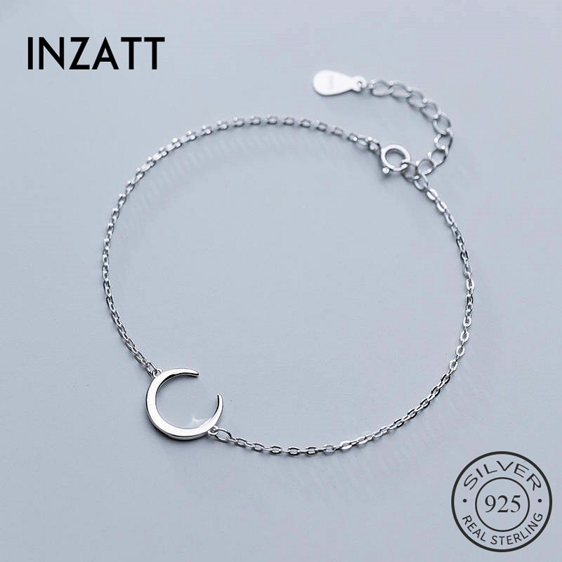 INZATT Real 925 Sterling Silver MInimalist Moon Bracelet For Charming Women Party Classic Fine Jewelry Cute Accessories Gift