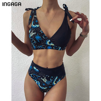 INGAGA 2020 Bikini Set Swimsuits High Waist Swimwear Women Strap Bow Biquini Beachwear Top Wrap Bathing Suits Patchwork Bikinis