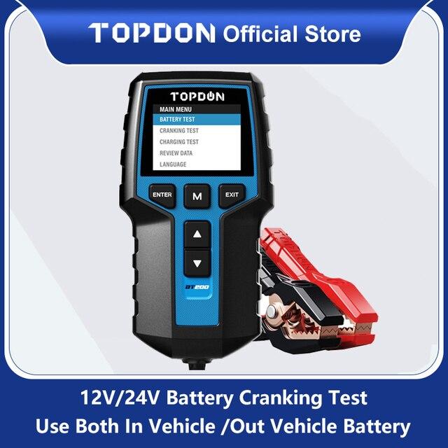 TOPDON BT200 12V רכב סוללה בודק דיגיטלי רכב אבחון סוללה בודק Analyzer רכב לסובב טעינה סורק כלי