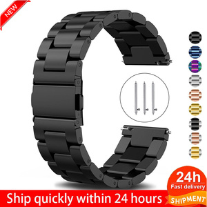 18mm 22mm 20mm 24mm Watch Band Stainless Steel Straps For Galaxy watch active2 44mm 40mm Gear S3 S2 Huawei Amazift bip(China)