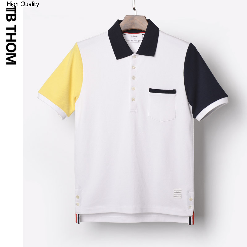 Men Casual Contrast Color Shirt Short Sleeve Button up Polo T-Shirts