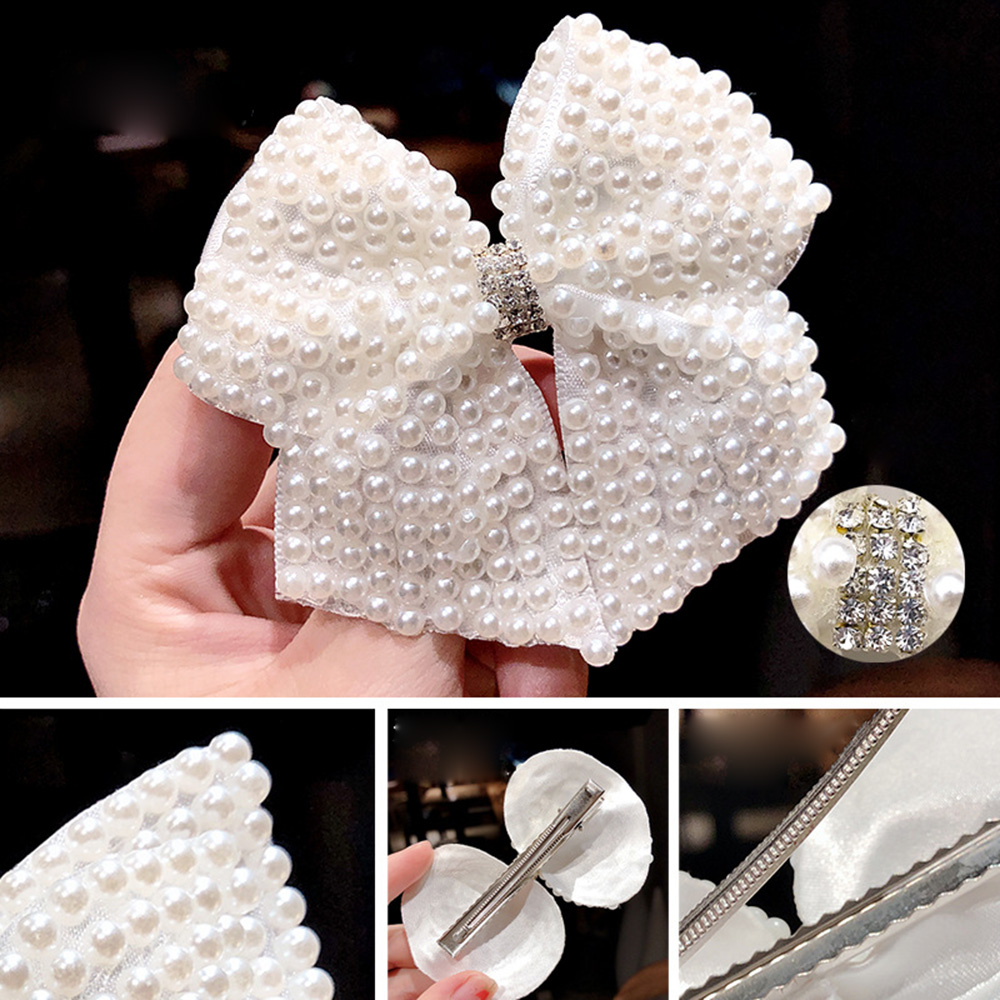 1PC White Pearl Hair Bows With Hair Clips For Girls Kids Boutique Layers Bling Rhinestone Center Bows Hairpins Hair Accessories
