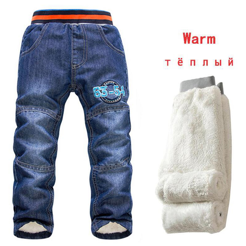 Children Jeans Pants Trousers Autumn Baby-Boys Winter Kids Denim Casual Warm Thicking