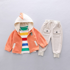 Image 3 - Toddler Clothes Kid Baby Boys Hooded Jacket T Shirt Clothing Sets 3PCS/Set Cotton Infant Children Outwear Boys 1 2 3 4 Years