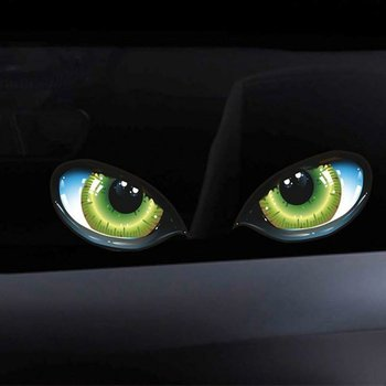 Funny Design 3D Stereo Reflective Cat Eyes Pattern Car Sticker Car Side Fender Eye Stickers Adhesive Rearview Mirror Decal image