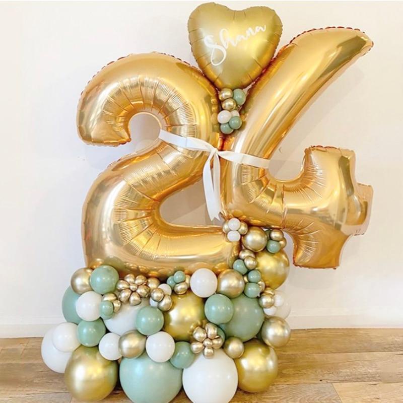18 20 30 40 50 60 70 лет, Пижама-комбинезон для детей, День рождения украшение шар золотой 32 дюймов шара с цифрой набор «сделай сам» для стойки для ша...