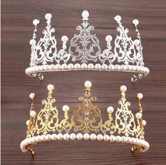 Decoração do Bolo de Aniversário Lote Faça Você Mesmo Sliver Ouro Verde Grande Coroa Tiara Pérola Baking Ferramentas Hair Styling Acessório Ha884 40 Pçs –
