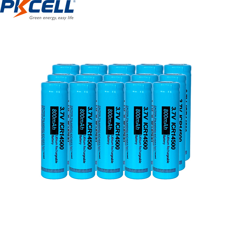 15PCS PKCELL <font><b>14500</b></font> <font><b>3.7v</b></font> AA li-ion recharegable battery ICR14500 lithium batteries for power tools toys amps headlights image