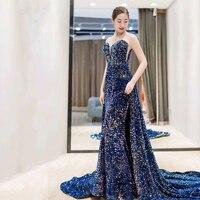 Evening Dresses Long Mermaid Vestidos Formales Detachable Train Sequin Elegant Women Banquet Prom Party Gowns Robe De Soiree