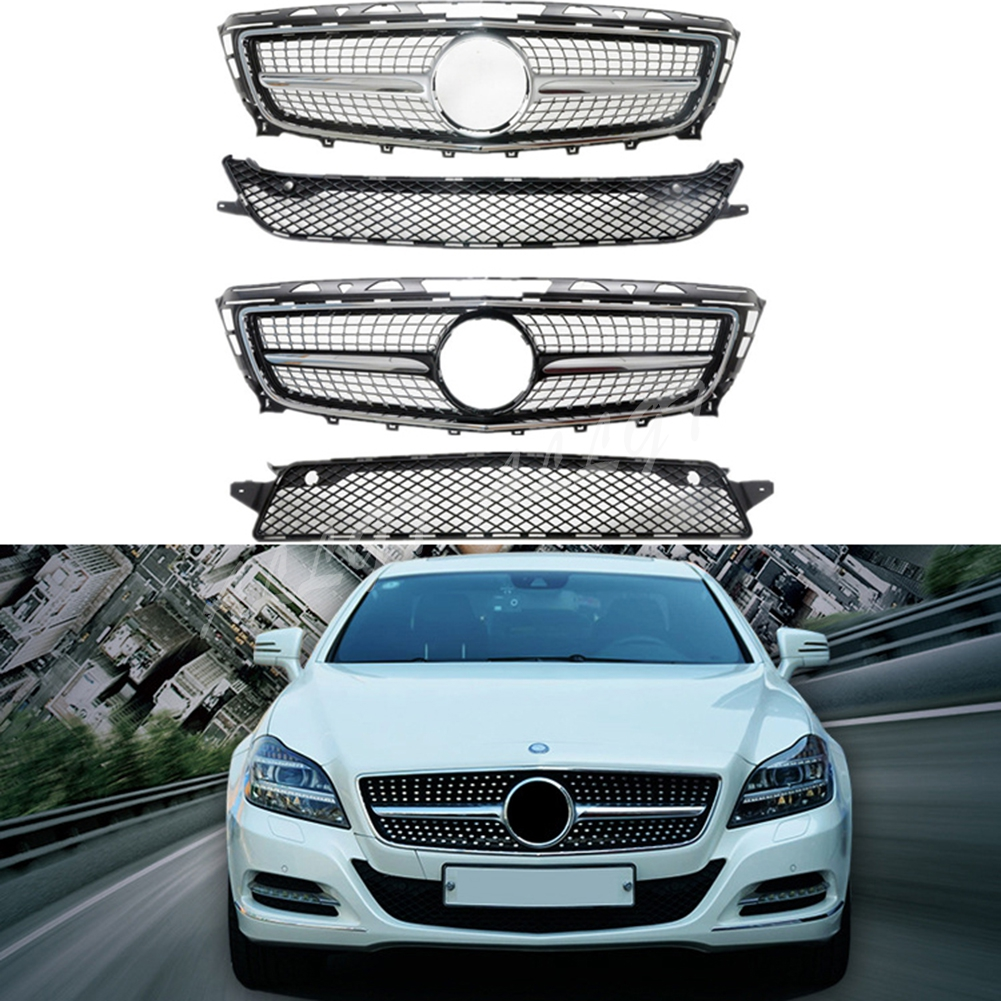 Front Racing Billet Bumper <font><b>Grille</b></font> Upper Cover For Mercedes-Benz For Mercedes-Benz <font><b>W218</b></font> CLS Class 2011 2012 2013 2014 Diamond image