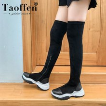 Taoffen Genuine Leather Women Thick Sole Over Knee Boots Sneakers Platform Casual Shoes Woman Hot Sale Winter Botas Size 34-40