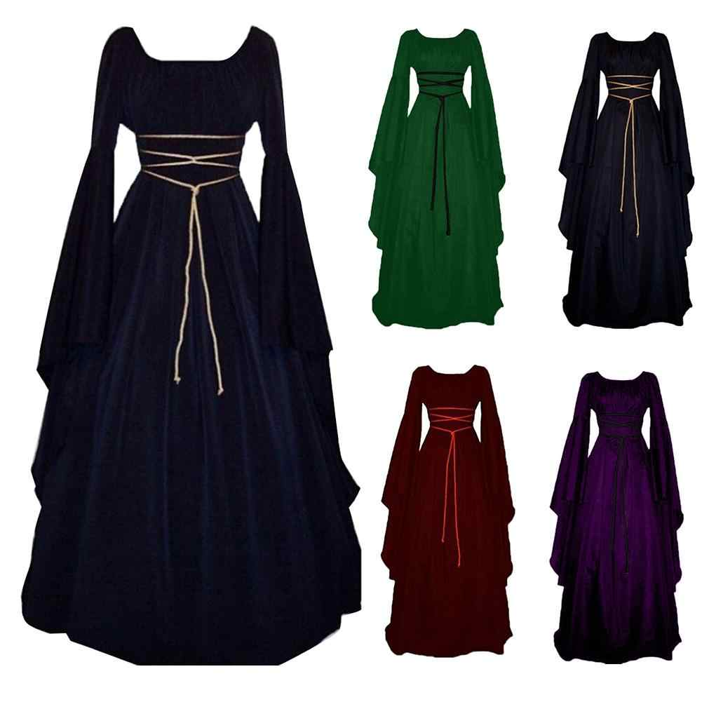 Cosplay Party Vrouwen Middeleeuwse Gothic Lace Up Lange Mouwen Floor Lengte Swing Jurk
