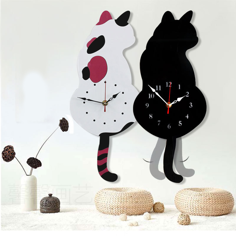 Creative Cute White/Black Wagging Tail Cat Wall Clock For Household Decorative Cat Horloge Murale Wall Clock Modern Design